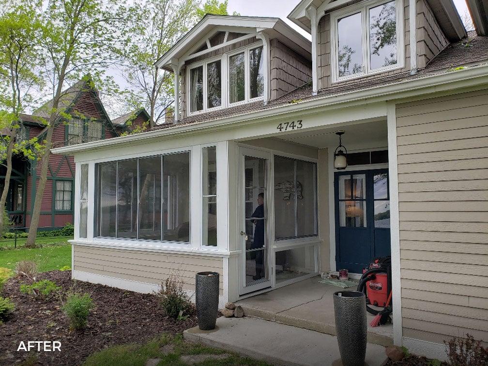 Horizontal Sliding Porch Windows with Knee Wall
