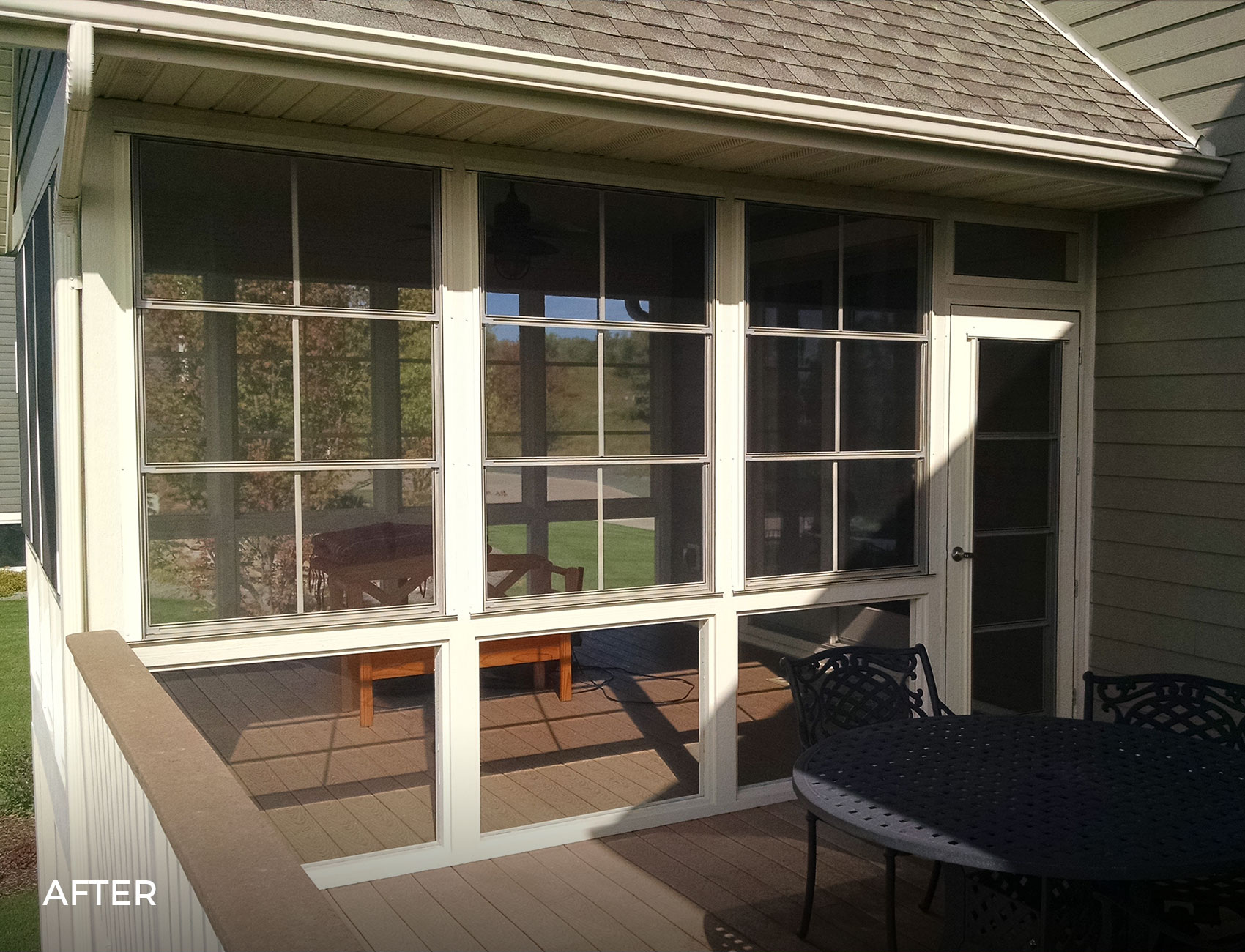 Vertical 4-Track Porch Windows with Glass Railing