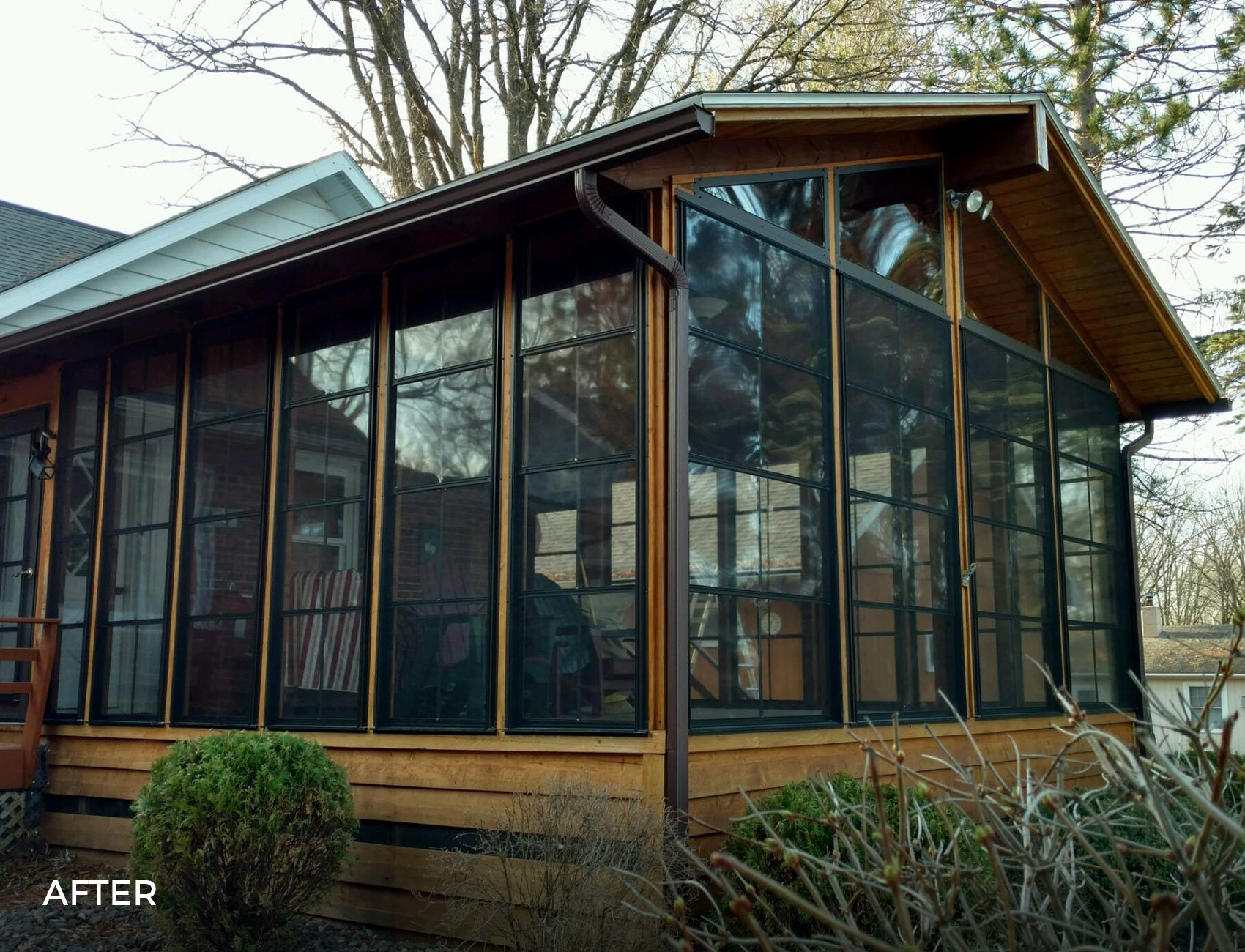Floor-to-Ceiling Vertical 4-Track Porch Windows