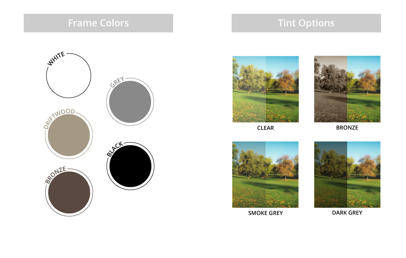 Sunspace Frame Colors and Vinyl Tint Option Graphic