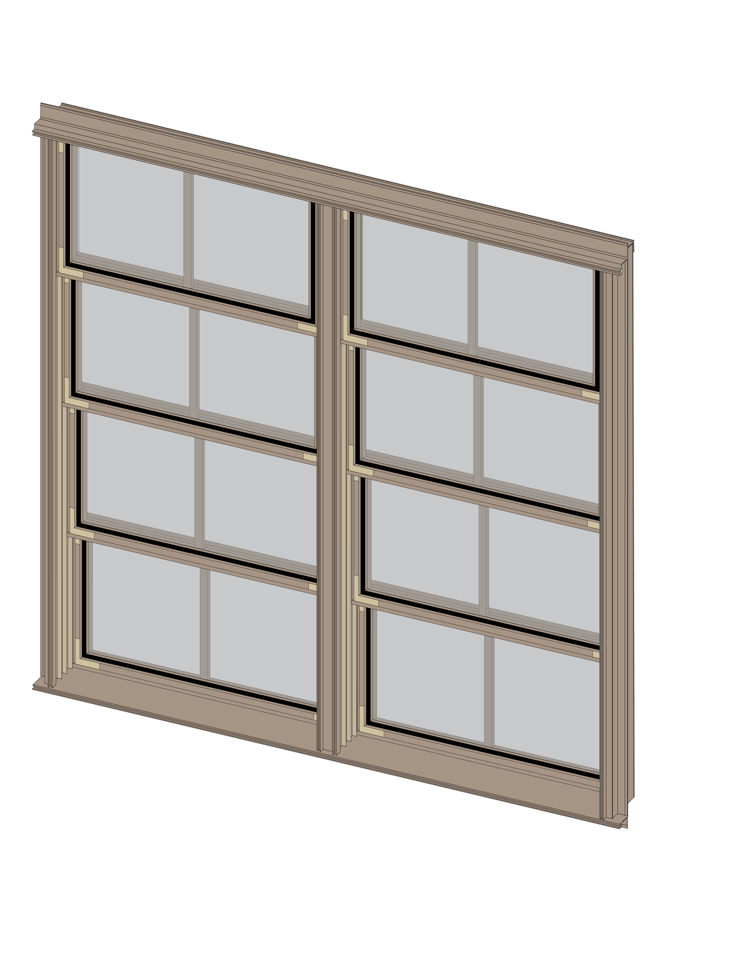 Double Mulled Vertical Porch Window